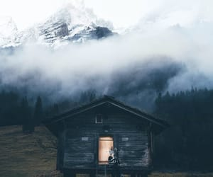 cabin, fog, and mountains image