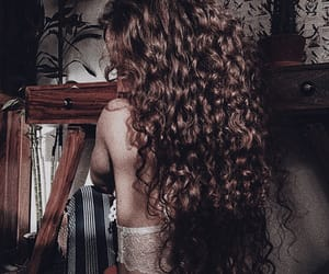 curly hair, long hair, and brunette hair image