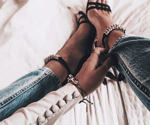 denim, fashion, and heels image