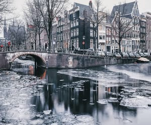 amsterdam, frozen, and canal houses image