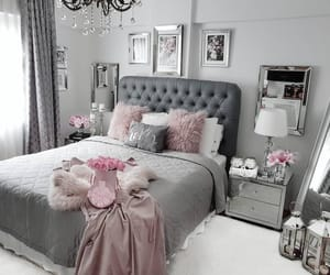 bedroom, decor, and grey image