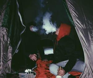black, camping, and smoke image