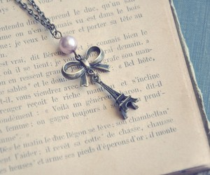 necklace, bow, and eiffel tower image