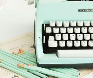vintage, typewriter, and pencil image