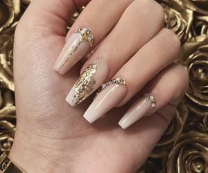 glitter, gold, and nail art image