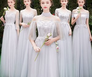 beautiful dress, girl, and wedding party dress image