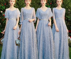 girl, wedding party dress, and long dress image