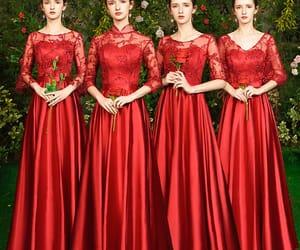 girl, satin dress, and wedding party dress image