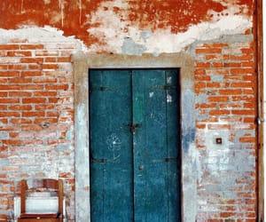 door, orange, and teal image