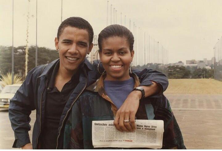 couple, barack obama, and michelle obama image