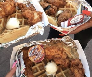 breakfast, food, and waffles and chicken image