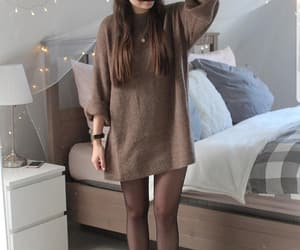 beige, sweater, and brown image