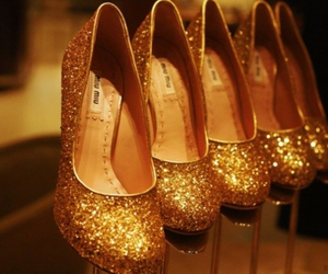beautiful, shoes, and gold image