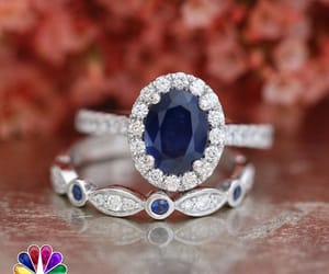 engagement ring, blue sapphire stone, and blue sapphire ring image