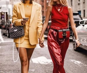 fashion, monochromatic, and yellow outfit image