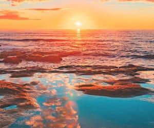 beautiful, ocean, and orange image