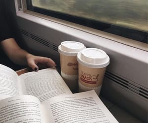 book, coffee, and train image