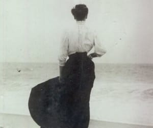 black and white, sea, and vintage image