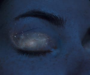 eyes, blue, and galaxy image
