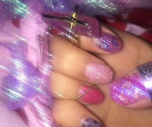 pink, purple, and nails image