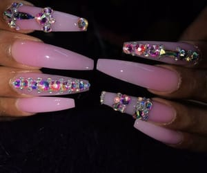 bedazzled, nails, and pink image