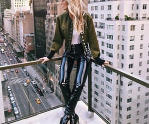 city, leather pants, and luxe image