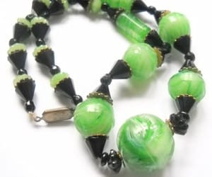 etsy, mid century, and green necklace image