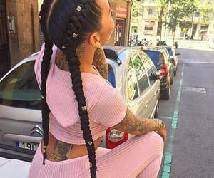 hair, braids, and pink image