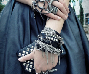 bracelet, black, and rings image