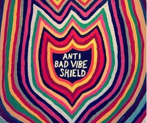 hippies sign, bad vibes booo, and shield against bad vibes image
