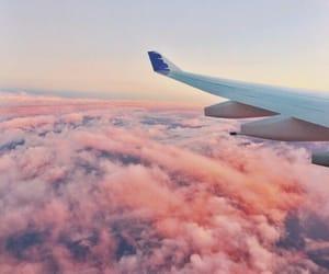 plane, pink, and sky image