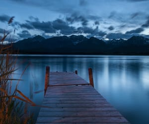 blue, jetty, and lake image