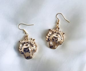 classy, earrings, and gold jewelry image