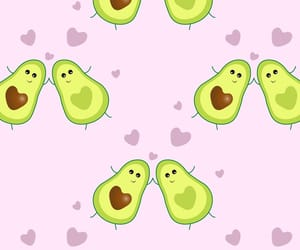 avocado, heart, and pattern image
