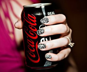 nails, coca cola, and black image