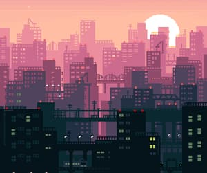 8-bit, city, and train image