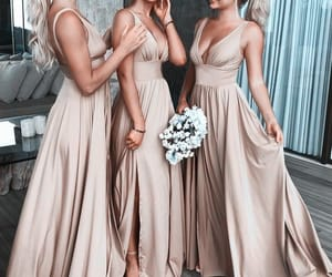 wedding dress, bridesmaid dresses, and bridesmaids image