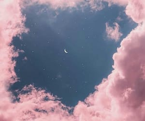 pink, moon, and sky image