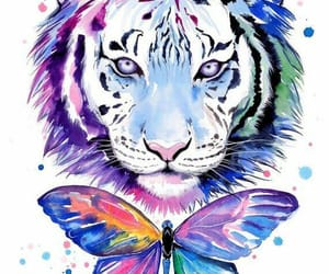 tiger, art, and butterfly image