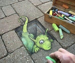 art, green, and dragon image