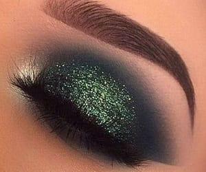 lashes, make up, and green shadow image