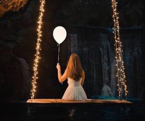 balloon, lights, and waterfall image