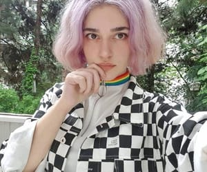 black and white, look, and pink hair image