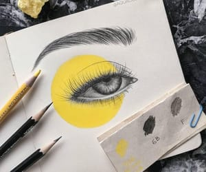 art, eye, and yellow image
