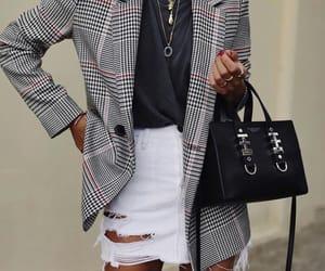 black shirt, fashion, and white skirt image