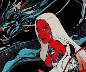 art, dragon, and girl image