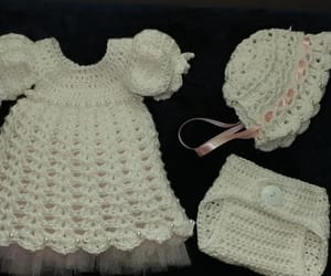 baby, bonnet, and dress image