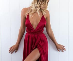 red prom dress, sexy prom dress, and v neck prom dress image