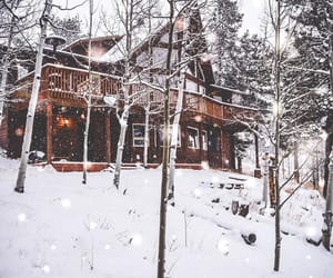 cabin, home, and snow image
