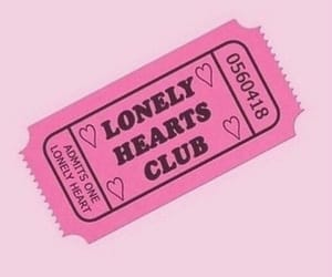pink, lonely, and ticket image